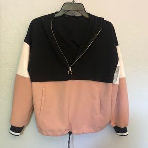 Zara color block zip hoodie workout pullover